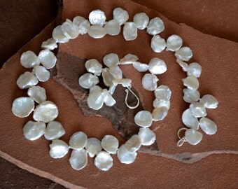 Keshi Pearl Necklace, Natural Ivory, Luxe Freshwater Petal Pearls