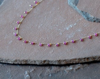 Pink Sapphire Necklace, Delicate Dangling Gemstones, Delicate Gold Chain
