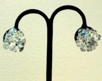 Aurora Borealis  AB Vtg Earrings Clip -back