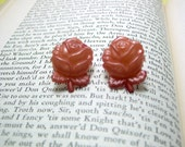 Pink Rose Button Earrings, Button Jewelry
