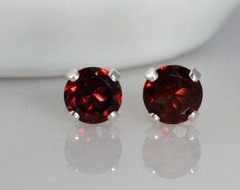 Sterling Silver Garnet Gemstone Stud Earrings - January Birthstone Earrings- 5mm Garnet Studs