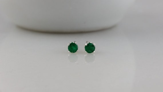 Tiny Sterling Silver 3mm Green Emerald Gemstone Stud Earrings - May Birthstone Earrings- 3mm Emerald Studs