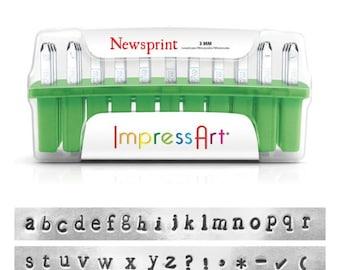 ImpressArt NEWSPRINT Alphabet Hand Stamp, Metal Stamping Font Set, 3mm, Hand Stamping Font, Metal Stamping Alphabet, Number Set, Punctuation