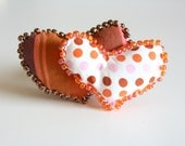 Fiber Art Double Heart Pin Valentines Day Polka Dots and Stripes