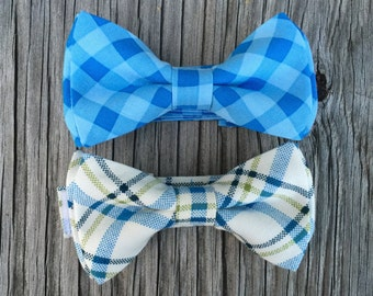 blue bow tie, boys bow tie, blue plaid bow tie, gingham bowties, mens blue tie, baby shower gift, boys gift