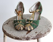 1920s Green Strappy Shoes / Paul's Beautiful Shoes