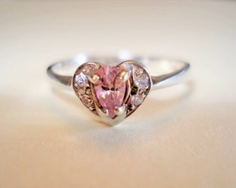 Sterling Silver Vintage Ring - Pear Cut Pink Tourmaline Gemstone with Beautiful Clear CZ Heart Setting  - Size 6.75