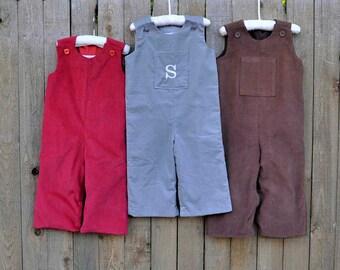 Monogrammed Corduroy Longalls.. Monogrammed Pocket...grey...eco-friendly...3m,6m,9m,12m,18m,2t,3t