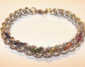 Rainbow Pride JPL Chainmaille Bracelet