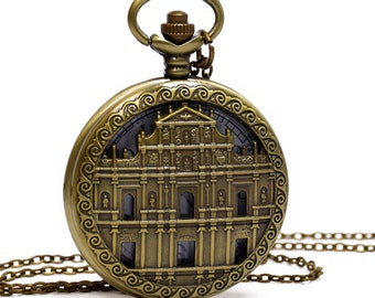 1pcs Large Church Watch Charms Pendant with chain /pocket watch/Bridesmaid , Christmas gifts, friends, children's gifts