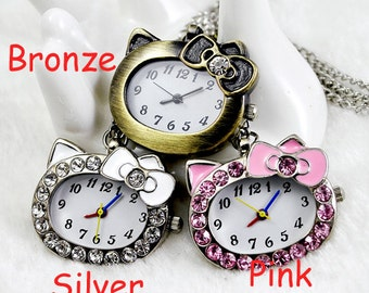 1pcs Diamond KT cat-   Watch Charms Pendant with chain Children's gifts, Christmas gifts,