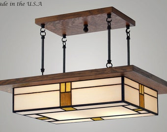 Dining Room Light Fixture Mission Style - Vintage Style Glass