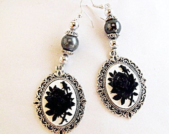 Silver Dangle Cameo Earrings,  Gothic Black and White Rose Cameo,  With Black Pearls Womens Gift  Handmade