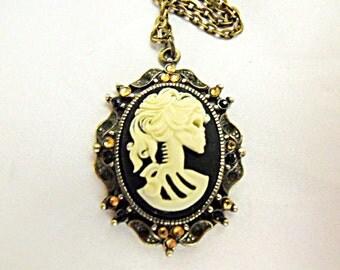 Bronze Cameo Choker Necklace,  Gothic Lolita Cameo With Amber Rhinestones  Womens Gift
