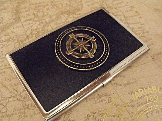 Credit card holder business card holder nautical steampunk for Steampunk business card holder