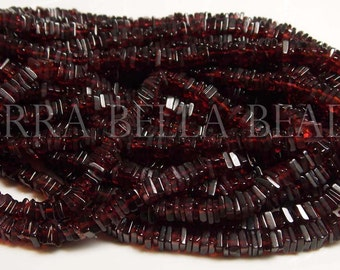 "8"" half strand MOZAMBIQUE GARNET square heishi cube beads 4mm"
