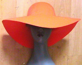 French Groovy 1970s Woman Wide Brimmed Floppy Hat - Orange Angora Felt - MADE IN FRANCE - New - M/L