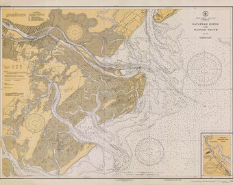 1935 Nautical Chart of Savannah River