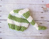 Striped Wooly Knit Sleepy Cap in Green Apple and Cream, Newborn Photography Prop