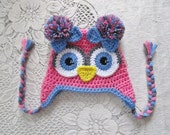 Medium Pink, Periwinkle Blue and Dark Grey Owl Crochet Hat - Photo Prop - Available in Any Size or Color Combination