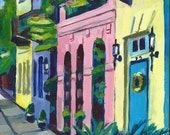 """South Carolina, Charleston, Rainbow Row, Original Painting, Art, 8"""" x 8"""" x 3/4"""""""