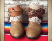 Tan Leather Larry Mahan lace up Cowgirl Western Boots with Lace and Vintage Belts