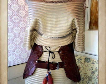 Handmade Western Cowboy Boot Corset Belt with Feathers
