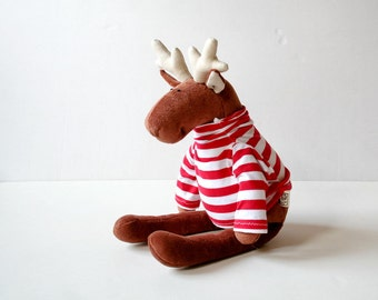 Stuffed Plush Reindeer wearing striped sweater, Xmas Gift, Soft toy for kids, Plushie for Children, Stuffed Animal, Christmas Plush Toy