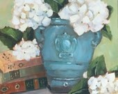 Original oil painting: White Hydrangeas in Teal Vase with books still life painting