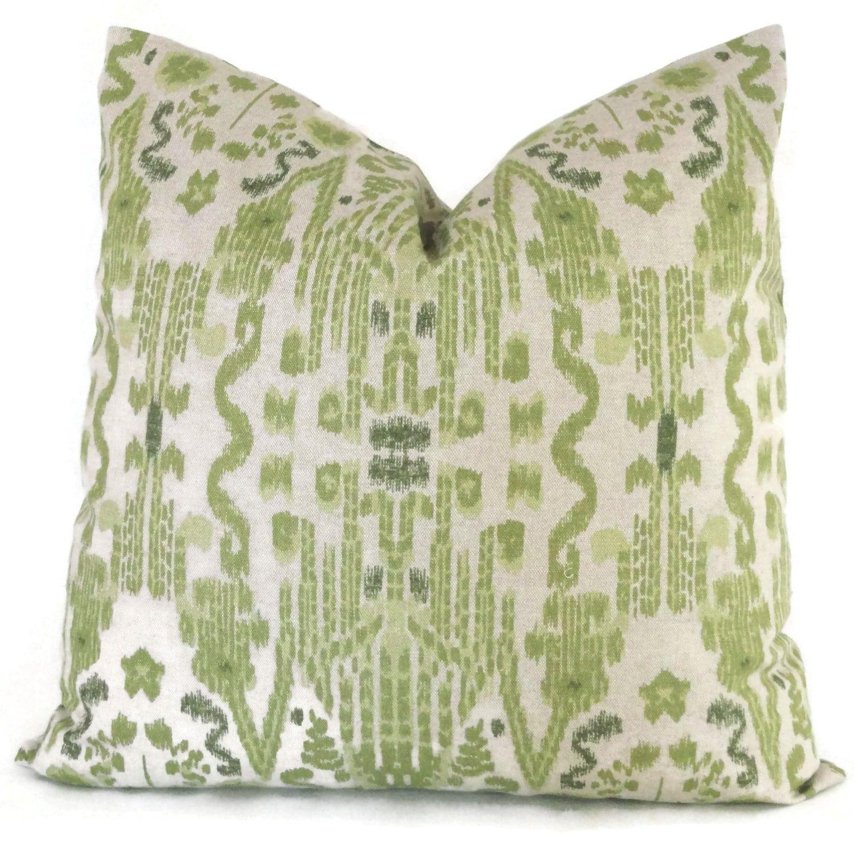 Moss Green Ikat Decorative Pillow Cover 20x20 Throw Pillow