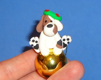 Polymer Clay Tri Colored Dog on Glass Ornament