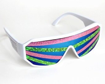 Rasslor Rave Festival Pink and Green Rays White Shield Sunglasses