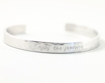 Sterling silver personalized bracelet, custom engraved cuff silver engraved bracelet for birthday thin narrow