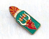 Vintage Enamel Large Paper Clip - Egyptian Motif - Desk Accessory Home Office