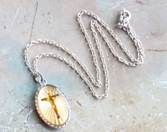 Kitsch Jesus on the Cross Medallion Necklace - Religious Jewelry - Crux