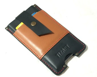 SALE sleeve pouch for IPhone 6 Plus case handmade wallet black cowhide with camel pocket card holder red thread free initials
