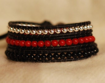 Artisan Beaded Leather Wrap - Red and Black Beaded Bracelet - Red and Black Bracelet (B328)