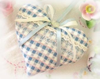 Sachet  Heart 5 inch Heart Sachet, Blue and Ivory, Lavender Buds, Cottage Prim Folk Art, Cloth Handmade CharlotteStyle Decorative Folk Art
