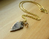 Carved Agate Arrowhead Pendant with Sparkly Champagne Swarovski Crystal, Natural Stone Jewelry With Gold Tone Chain Arrowhead Pendant