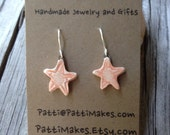 Handmade Ceramic Dangle Sea Star Earrings/ Melon
