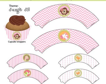 JUNGLE JILL Cupcake Wrappers, Instant DOWNLOAD by Cupcake Stylist on Etsy