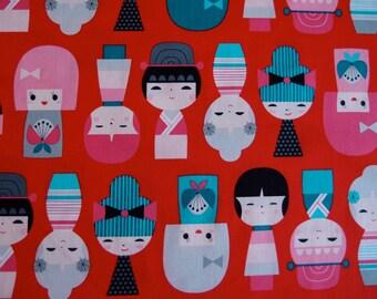 Sale- Kokeshi Doll Fabric in Sweet by Suzy Ultman for Robert Kaufman Fabrics (1 yard) Sale, Sale, Sale