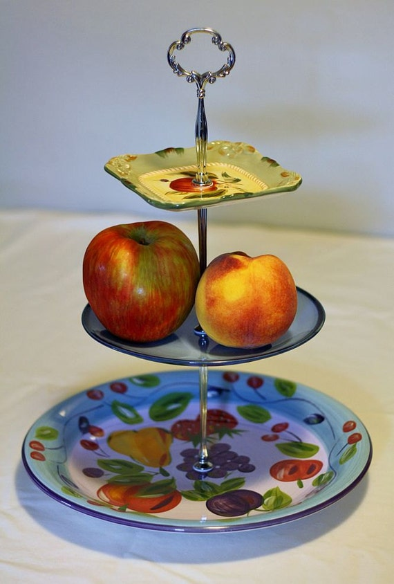 items similar to 3 tier cake stand fruit stand jewelry stand on etsy. Black Bedroom Furniture Sets. Home Design Ideas