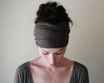HEATHER BROWN Head Scarf - Extra Wide EcoShag Jersey Hair Wrap - Cocoa Brown Yoga Headband - Womens Hair Accessories