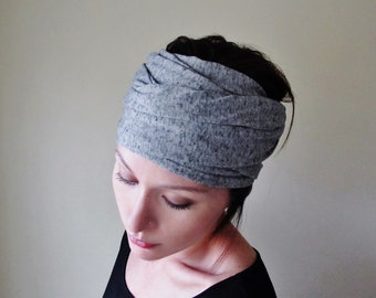 YOGA Head Scarf  - Black and White Hair Wrap - Salt and Pepper Jersey Headband - Extra Wide Head Scarf - Womens Hair Accessories