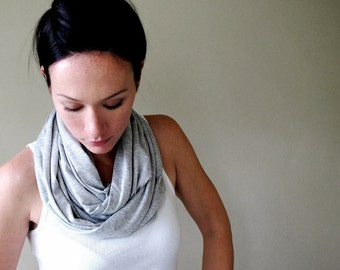 GREY Infinity Scarf - Cotton Jersey Loop Scarf - Lightweight Heather Gray Circle Scarf
