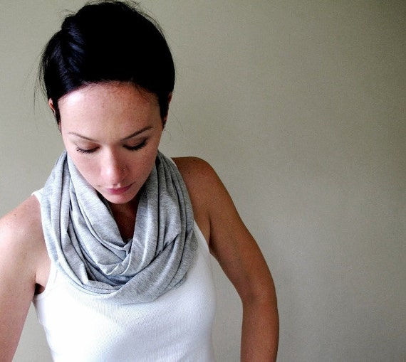 GREY Infinity Scarf - Cotton Jersey Infinity Loop Scarf - Lightweight Heather Gray Circle Scarf Cowl