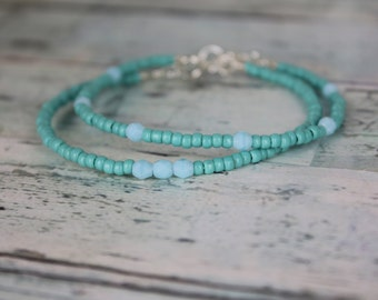 Turquoise/Light Blue Beaded Bracelets
