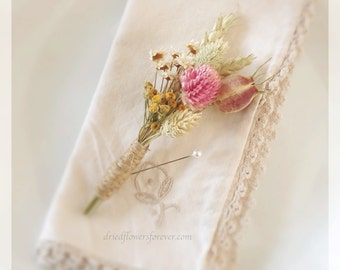 Vintage Wildflower Collection Boutonniere - Groom or Groomsmen Boutonnieres, Dried Flower Wedding Bouquets