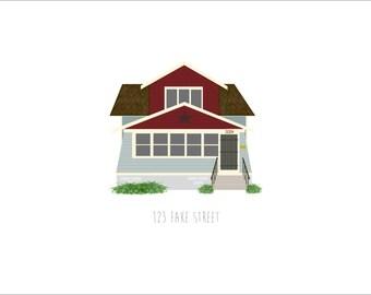 Custom Illustrated House Portrait - Elevation